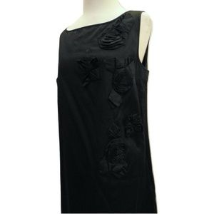 Ann Taylor cotton summer dress appliques black 12